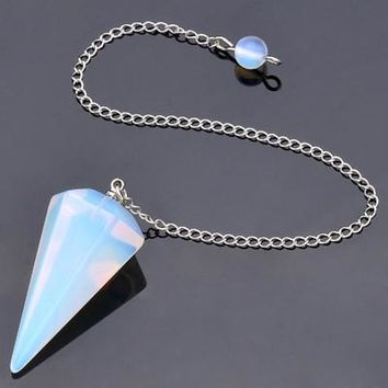 Natural Stone Crystal Faceted Reiki Dowsing Pendant (8 Colors)