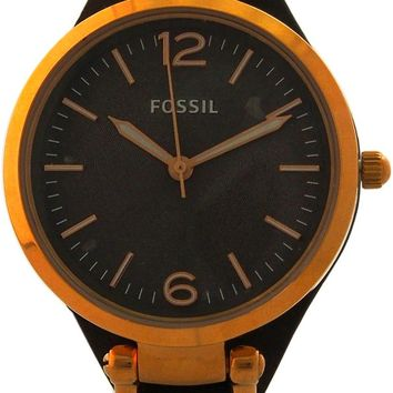 Fossil - ES3077P Georgia Smoke Leather Watch Rose Gold Tone