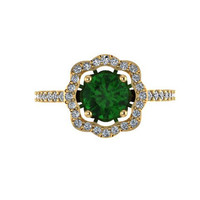 Diamond Engagement Ring Emerald Engagement Ring 14K Yellow Gold with 6.5mm Emeralde Center - V1078