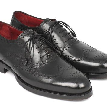 Paul Parkman Men's Wingtip Oxford Goodyear Welted Black Shoes (ID#027-BLK)