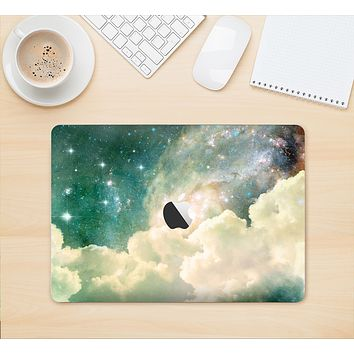"""The Cloudy Abstract Green Nebula Skin Kit for the 12"""" Apple MacBook"""
