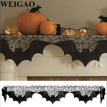 WEIGAO 203x51cm Fireplace Mantle Scarf Cover Black Stove Lace SpiderWeb Table Cloth DIY Halloween Party Home Decoration Supplies