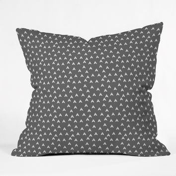 Gabi In Flight Gray Outdoor Throw Pillow