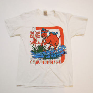 """Vintage Campbell University T-Shirt - Campbell Camels """"If You Can't Run with the Camels, Stay of of the Creek"""" Buies Creek, NC Size Small"""