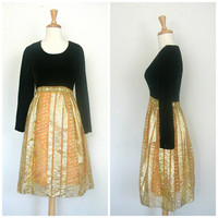 1970s Gold Party Dress / 70s dress / brown velvet dress / reception dress / cocktail dress / metallic dress / mod dress / small