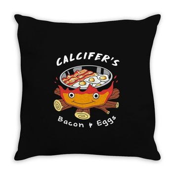 calcifer's bacon and eggs Throw Pillow