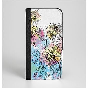 The Colorful WaterColor Floral Ink-Fuzed Leather Folding Wallet Case for the iPhone 6/6s, 6/6s Plus, 5/5s and 5c