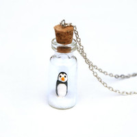 Penguin in Jar Winter Necklace Christmas Gift - Winter Miniature clay penguin in a tiny glass jar, on a bed of white snow. 16 inch chain.