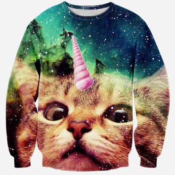 Unicat Crew Neck Sweatshirt Men & Women Cats in Space Harajuku Style All Over Print Blue Sweater