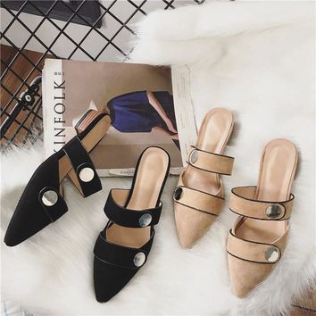 2017 Fashion Women Pumps Casual Shoes Pointed Toe Low Heels Mules Double Strap Slip-on Slippers Button Leisure Shoes