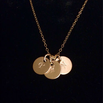 "Beautiful Tiny 14k Gold Filled Hand Stamped Initial Disc Necklace with 18"" cable chain. Up to 3 discs included!"