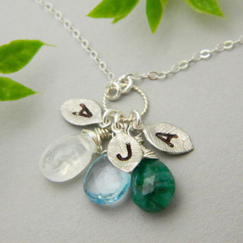 Monogram Necklace Three Initial Necklace Birthstones by MyQjewelry
