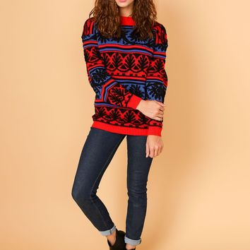 csv11008 - Vintage Bold Patterned Stripes Knit Sweater