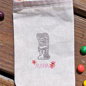 Aloha Tiki Idol Hand Stamped Cotton Muslin 4x6 Favor Bag - great for Luaus, Beach and Tropical Parties and Weddings