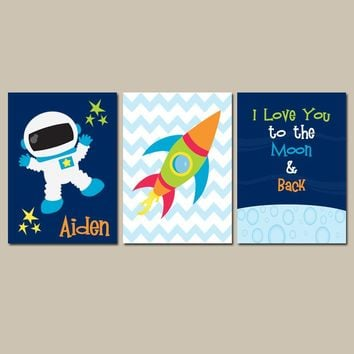 I Love You to the Moon & Back Boy Wall Art CANVAS or Prints Outer Space Boy Nursery Quote Rocket Stars Space Ship Set of 3 Boy Bedroom D