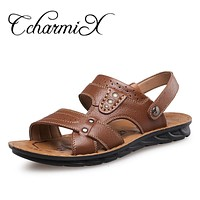 Men Genuine Leather Sandals Shoes Casual Shoes New Fashion Beach Slippers For Men Outdoor Male Shoes
