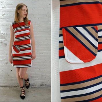 vintage 60s striped sleeveless mod dress / 1960s striped shift dress