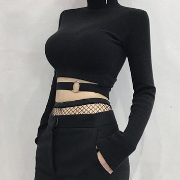 Long Sleeve Ring Buckled Crop Top