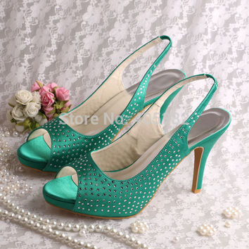 Wedopus MW1634 Custom Crystals Women Designer Shoes Sandals Wedding Party Green