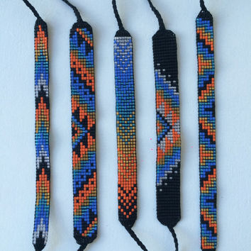 Seed Bead Friendship Bracelet - Orange, Caramel, Turquoise, Blue