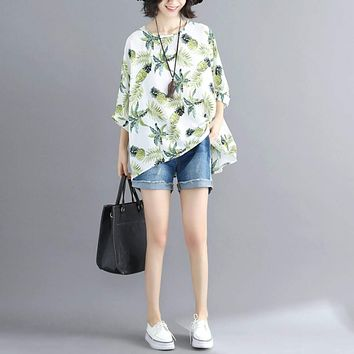 Womens Tropical Pineapple Print Batwing Top