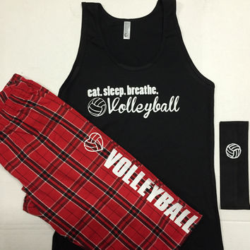 Volleyball Pajama Tank Sets Eat.Sleep.Breathe.