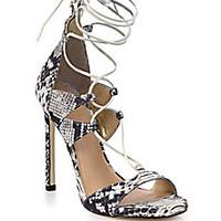 Stuart Weitzman - Snake-Embossed Leather Lace-Up Sandals - Saks Fifth Avenue Mobile