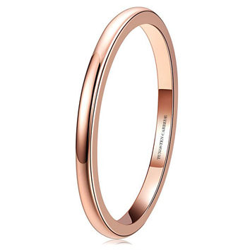 2mm Rose Gold Polish Comfort Fit Domed Tungsten Carbide Ring Wedding Band (14k, 18k)