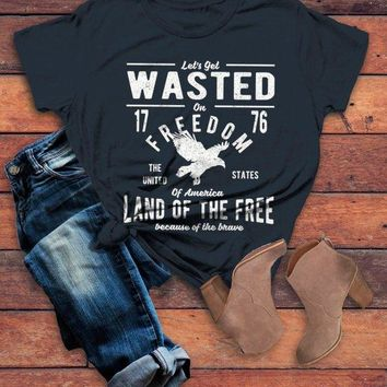 Women's Wasted On Freedom T Shirt 4th July Independence Day Vintage Shirts Graphic Tee Eagle