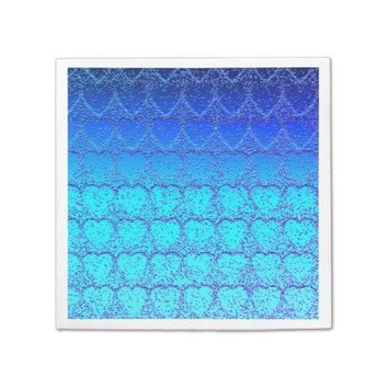 Blue Hearts Pattern Napkin Aqua