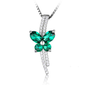 Lab Created Emerald Pendant Silver Necklace