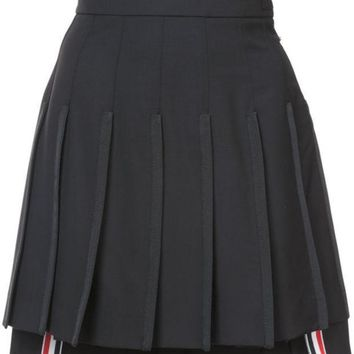 ESBONJF Thom Browne Dropped Back Mini Pleated Skirt With Grosgrain Tipping In Black Extra Fine Merino Kid Mohair - Farfetch