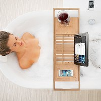 Bamboo Bathtub Caddy Tray with Extending Sides, Reading Rack, Tablet Holder, Cellphone Tray and Wine Glass Holder - Luxury Enjoyment In The Bath By: Bambüsi