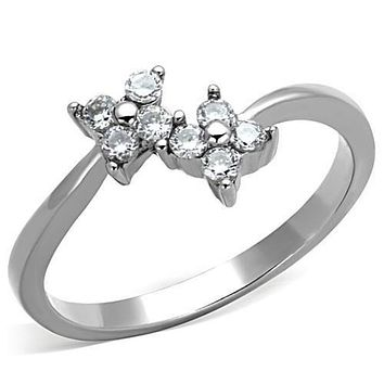 WildKlass Stainless Steel Flower Ring High Polished (no Plating) Women AAA Grade CZ Clear