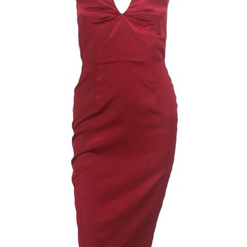 You're On Fire Satin Strapless V Neck Shirred Bodycon Midi Dress - 3 Colors Available
