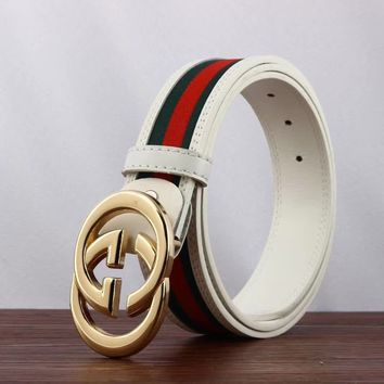 New.Gucci Green-Red-Green Gold Buckle White Leather Belt 110cm : 31-34 inch!