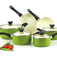 10 Piece Nonstick Ceramic Cookware Set Aluminum Glass Lids Kitchen Use Green New