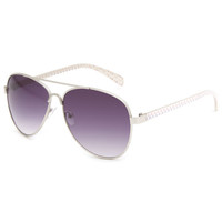 Full Tilt Ship Out Anchor Aviator Sunglasses White Combo One Size For Women 23630016701