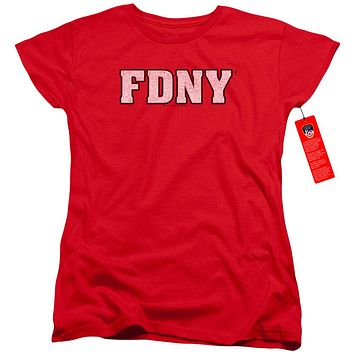 FDNY Womens T-Shirt New York Fire Dept Logo Red Tee