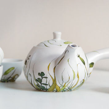 Hand Painted Ceramic Tea Set   Grass Fields Collection by yevgenia