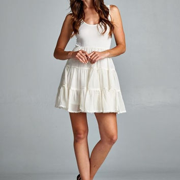 Boho Flair Ruffle Dress - Ivory