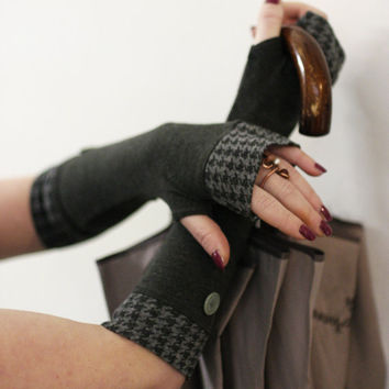Soft grey with vintage pattern and old green buttons fingerless stretch gloves - Cotton Yoga Goth Chic modern  Cycling  Sport dark retro