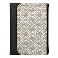 Gray and White Damask Leather Wallets
