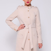 Ivory Wool Coat,Fitted Coat Military Jacket,Winter  Coat, Women Coat  Elegant.
