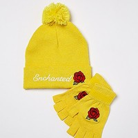 Enchanted Rose Hat and Glove Set - Beauty and the Beast - Spencer's