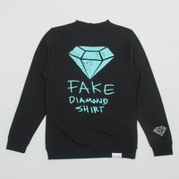 Fake Diamond Crewneck Sweatshirt in Black