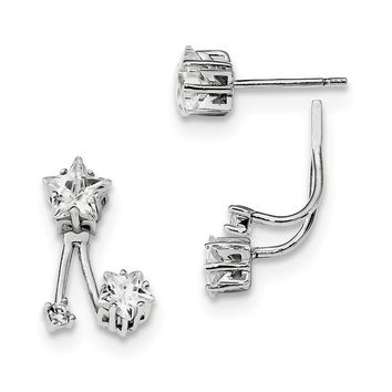 925 Sterling Silver Rhodium-plated CZ Star Front and Back Earrings