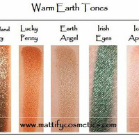 Fall Eye Shadow Set: Warm Earth Tones Eye Makeup Kit (5 Piece)  Copper / Naked / Sparkly Brown Beige