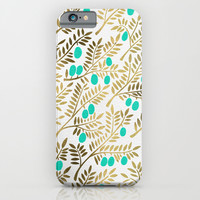 Gold & Turquoise Olive Branches iPhone & iPod Case by Cat Coquillette