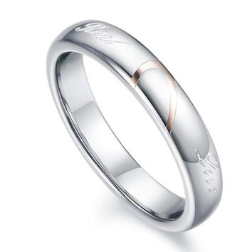 """Mens Womens Heart Titanium Steel Promise Ring """"Real Love"""" Couples Wedding Band Rings for Him and Her"""